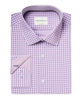 Con.Struct Men's Slim-Fit Violet Check-Pattern Dress Shirt