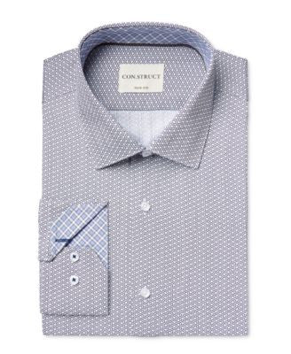 Con.Struct Men's Slim-Fit Diamond-Pattern Dress Shirt