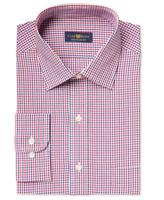 Club Room Estate Men's Classic-Fit Wrinkle Resistant Red Gingham Dress Shirt, Only at Vogily