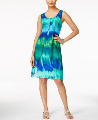 NY Collection Printed Chiffon Overlay Shift Dress