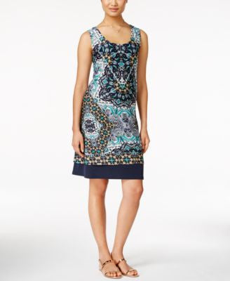 NY Collection Sleeveless Printed Shift Dress