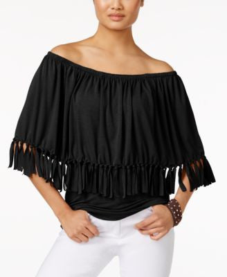 NY Collection Off-The-Shoulder Fringe Top