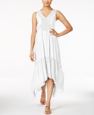 NY Collection Crochet-Trim Maxi Dress