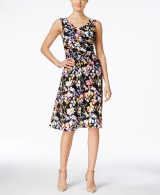 NY Collection Printed Faux-Wrap Dress