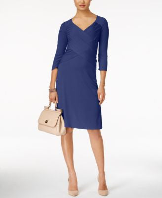 NY Collection Faux-Wrap Crossover Dress