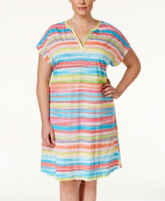 Lauren Ralph Lauren Plus Size Striped Sleepshirt
