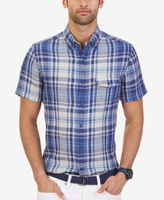 Nautica Men's Plaid Linen Slim Fit Short-Sleeve Shirt