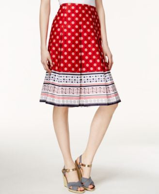 Charter Club Pleated Nautical-Print Skirt, Only at Vogily