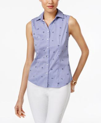 Charter Club Nautical-Print Sleeveless Shirt, Only at Vogily