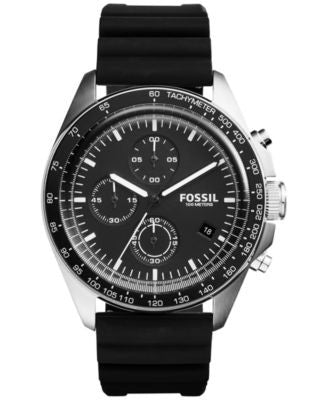 Fossil Men's Chronograph Sport 54 Black Silicone Strap Watch 44mm CH3024