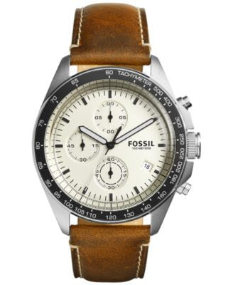 Fossil Men's Chronograph Sport 54 Dark Brown Leather Strap Watch 44mm CH3023