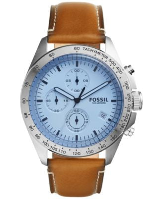 Fossil Men's Chronograph Sport 54 Light Brown Leather Strap Watch 44mm CH3022