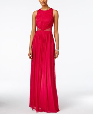 Adrianna Papell Shirred Illusion Halter Gown