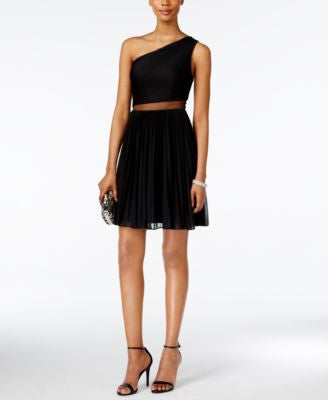 Adrianna Papell One-Shoulder Illusion Dress