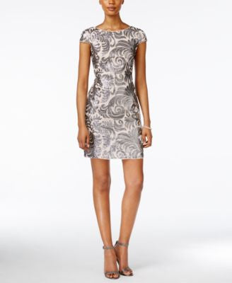 Adrianna Papell Cap-Sleeve Beaded Paisley Sheath Dress