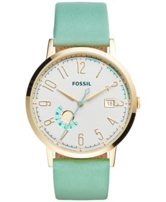 Fossil Women's Vintage Muse Green Leather Strap Watch 40mm ES3990