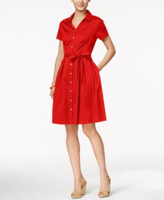 Charter Club Cap-Sleeve Belted Shirtdress, Only at Vogily