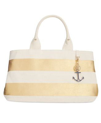 Tommy Hilfiger Jolene Metallic Rugby Stripe Shopper Tote