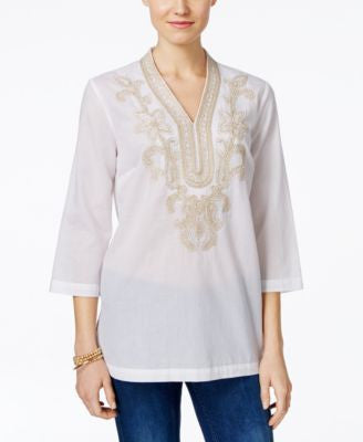 Charter Club Embroidered Tunic, Only at Vogily
