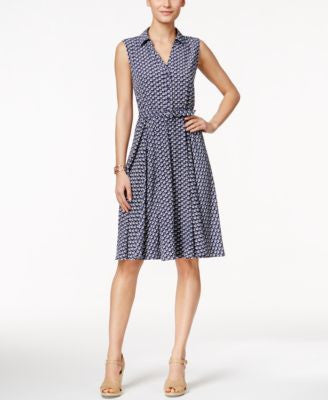 Charter Club Petite Sleeveless Boat-Print Shirtdress, Only at Vogily