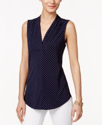 Charter Club Sleeveless Dot-Print Top, Only at Vogily