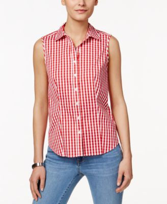 Charter Club Gingham Sleeveless Shirt, Only at Vogily
