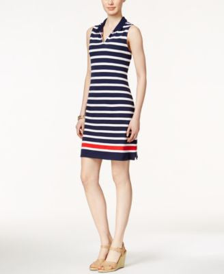 Charter Club Petite Sleeveless Striped Dress, Only at Vogily
