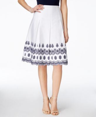 Charter Club Pleated Embroidered Skirt, Only at Vogily