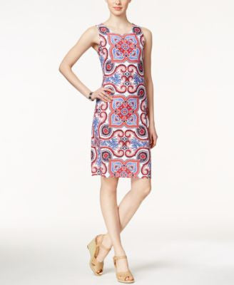 Charter Club Sleeveless Scarf-Print Dress, Only at Vogily
