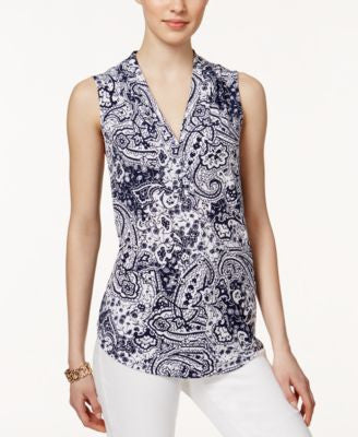 Charter Club Sleeveless Paisley-Print Top, Only at Vogily