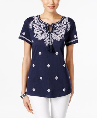 Charter Club Embroidered Short-Sleeve Peasant Top, Only at Vogily