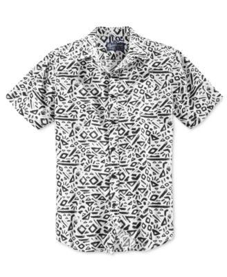 American Rag Men's Geometric-Pattern Short-Sleeve Shirt, Only at Vogily