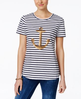 Charter Club Sequin-Anchor Striped Tee, Only at Vogily