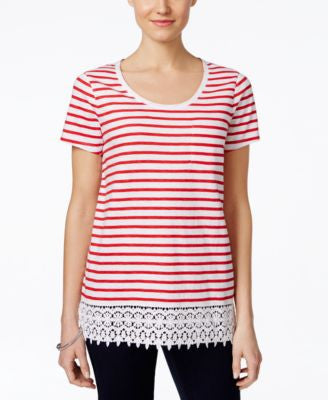 Charter Club Striped Crochet-Hem Top, Only at Vogily