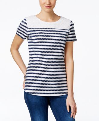 Charter Club Lace-Trim Striped Tee, Only at Vogily