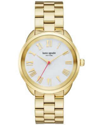 kate spade new york Women's Crosstown Gold-Tone Stainless Steel Bracelet Watch 34mm KSW1064