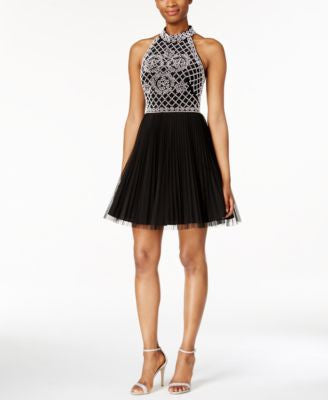 Xscape Beaded Halter Cocktail Mini Dress