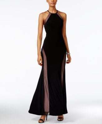 Nightway Open-Back Illusion Halter Gown