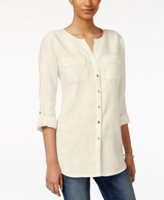 JM Collection Linen Utility Shirt, Only at Vogily