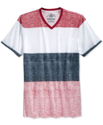 American Rag Men's Texture Stripe V-Neck T-Shirt, Only at Vogily