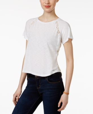 Calvin Klein Jeans Lace-Trim Raglan-Sleeve Top