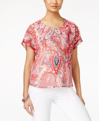 Style & Co. Paisley-Print Layered Top, Only at Vogily