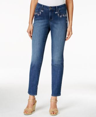Style & Co. Curvy-Fit Embroidered Skinny Ankle Jeans, Only at Vogily