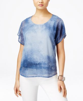 Style & Co. Layered Printed Blouse, Only at Vogily
