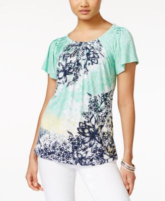 Style & Co. Printed Pleated-Neck Top, Only at Vogily