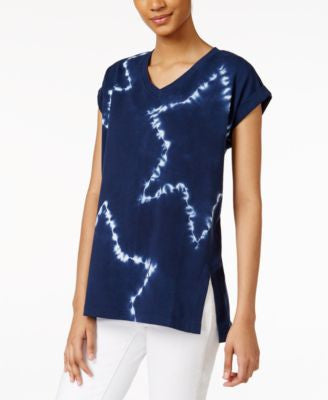 Style & Co. Tie-Dyed Star-Print Top, Only at Vogily