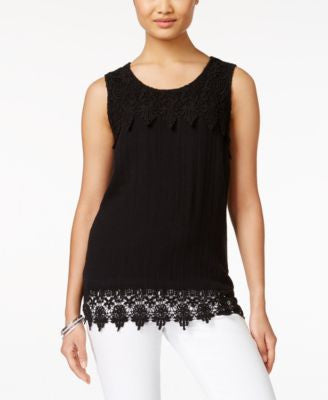 Style & Co. Crochet-Hem Sleeveless Top, Only at Vogily