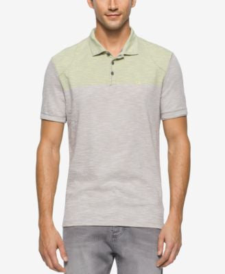 Calvin Klein Jeans Men's End on End Colorblocked Slub Polo Shirt