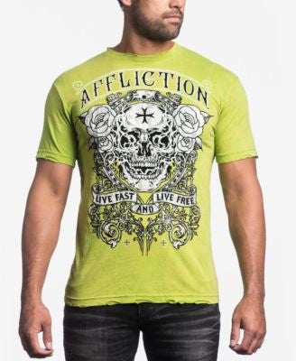 Affliction Men's Smoking Skull T-Shirt