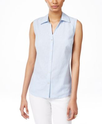 Karen Scott Sleeveless Seersucker Shirt, Only at Vogily